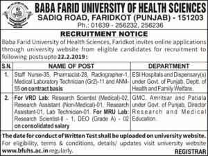 BFUHS Staff Nurse ANM Pharmacist Notification 2019