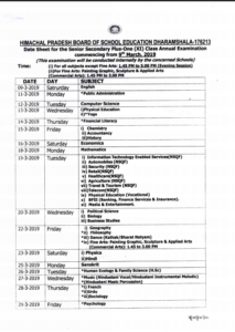HP Board 11th Date Sheet 2019