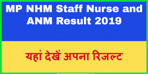 MP NHM Staff Nurse and ANM Result 2019